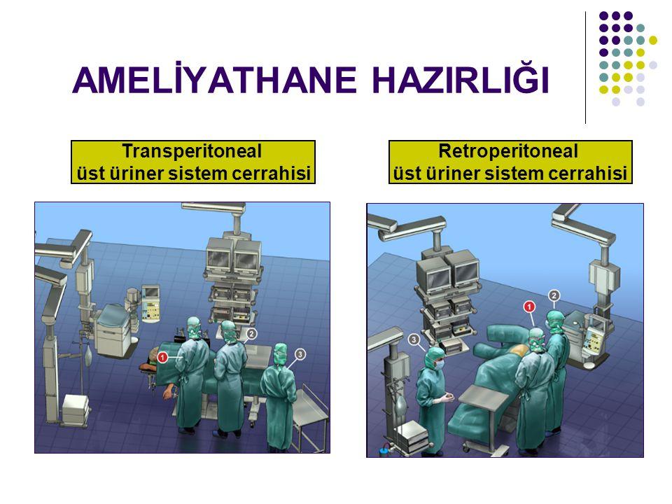 AMELİYATHANE HAZIRLIĞI Transperitoneal üst üriner sistem cerrahisi Retroperitoneal üst üriner sistem cerrahisi