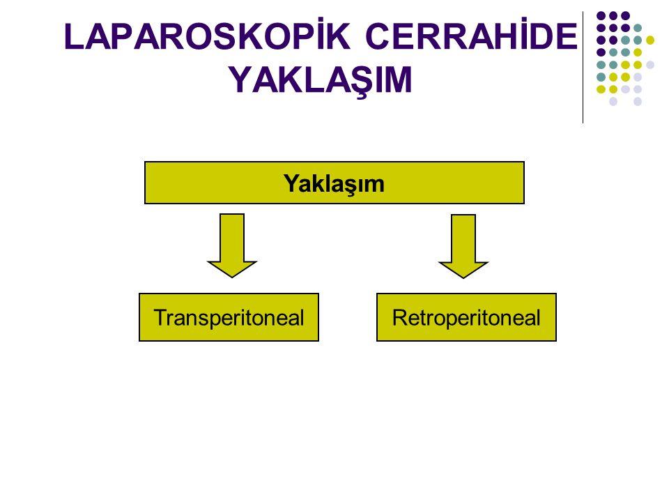 LAPAROSKOPİK CERRAHİDE YAKLAŞIM Transperitoneal yaklaşımın avantajları - Daha çok çalışma alanı sağlar.