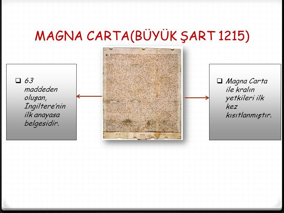 MAGNA CARTA(BÜYÜK ŞART 1215)  63 maddeden oluşan, İngiltere'nin ilk anayasa belgesidir.  Magna Carta ile kralın yetkileri ilk kez kısıtlanmıştır.