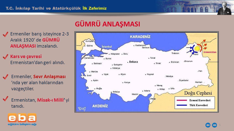 T.C. İnkılap Tarihi ve Atatürkçülük İlk Zaferimiz 5 GÜMRÜ ANLAŞMASI Ermeniler barış isteyince 2-3 Aralık 1920' de GÜMRÜ ANLAŞMASI imzalandı. Kars ve ç
