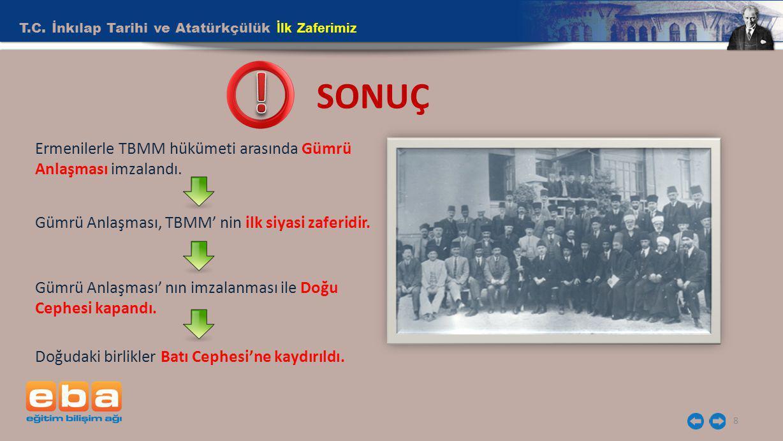 T.C. İnkılap Tarihi ve Atatürkçülük İlk Zaferimiz 8 SONUÇ Ermenilerle TBMM hükümeti arasında Gümrü Anlaşması imzalandı. Gümrü Anlaşması, TBMM' nin ilk
