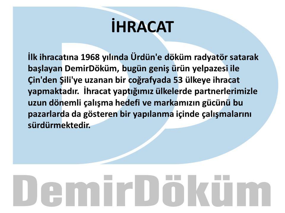 İHRACAT İlk ihracatına 1968 yılında Ürdün'e döküm radyatör satarak başlayan DemirDöküm, bugün geniş ürün yelpazesi ile Çin'den Şili'ye uzanan bir coğr