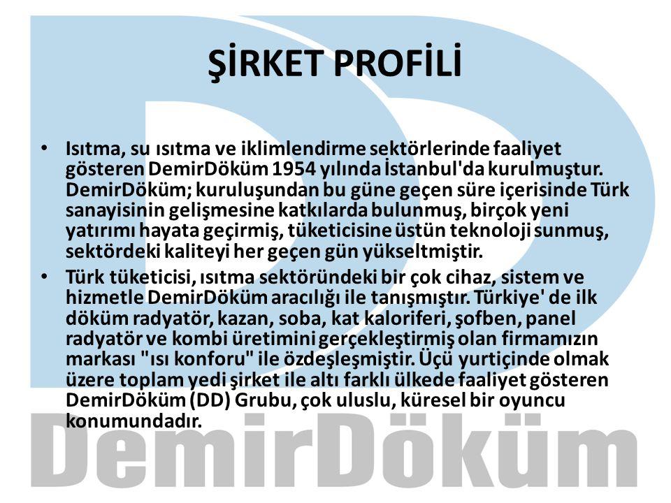 ŞİRKET PROFİLİ Isıtma, su ısıtma ve iklimlendirme sektörlerinde faaliyet gösteren DemirDöküm 1954 yılında İstanbul'da kurulmuştur. DemirDöküm; kuruluş