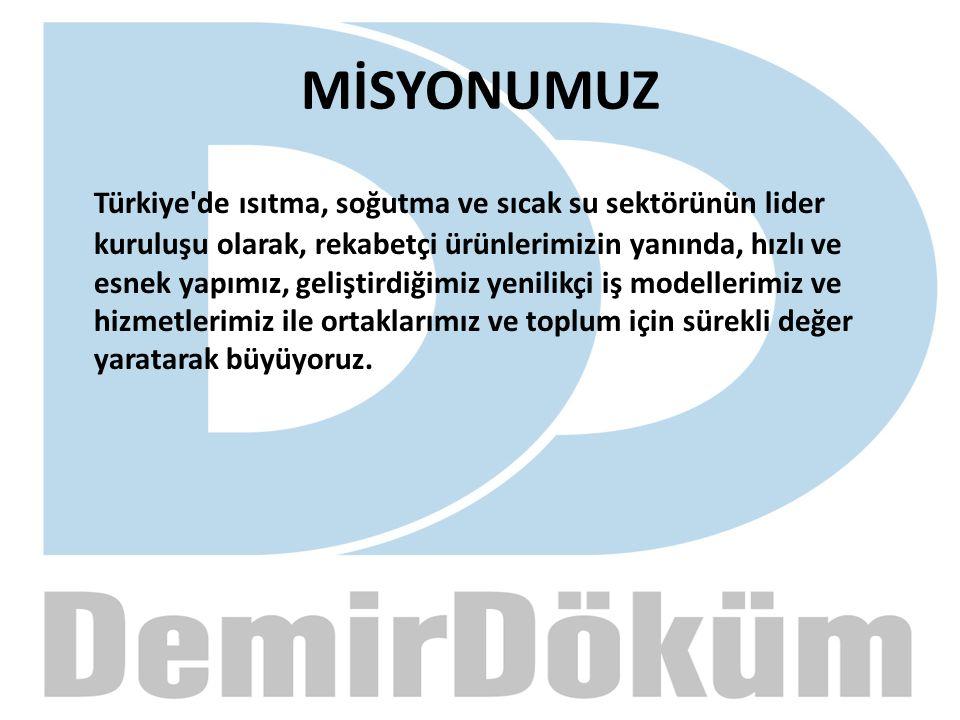 MİSYONUMUZ Türkiye'de ısıtma, soğutma ve sıcak su sektörünün lider kuruluşu olarak, rekabetçi ürünlerimizin yanında, hızlı ve esnek yapımız, geliştird