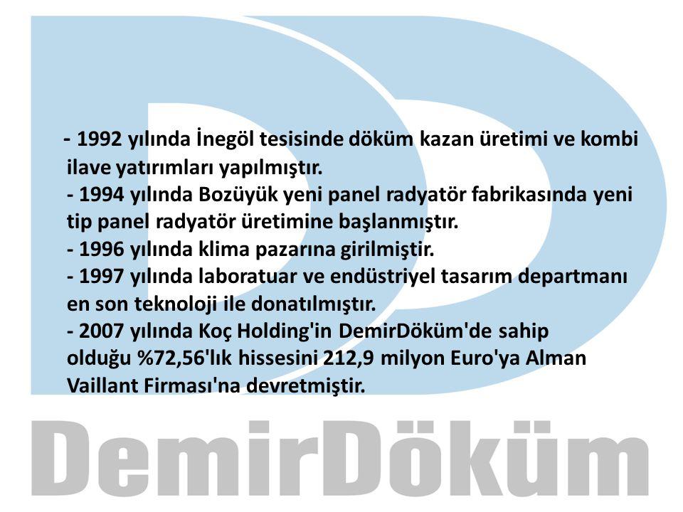 - 1992 yılında İnegöl tesisinde döküm kazan üretimi ve kombi ilave yatırımları yapılmıştır. - 1994 yılında Bozüyük yeni panel radyatör fabrikasında ye