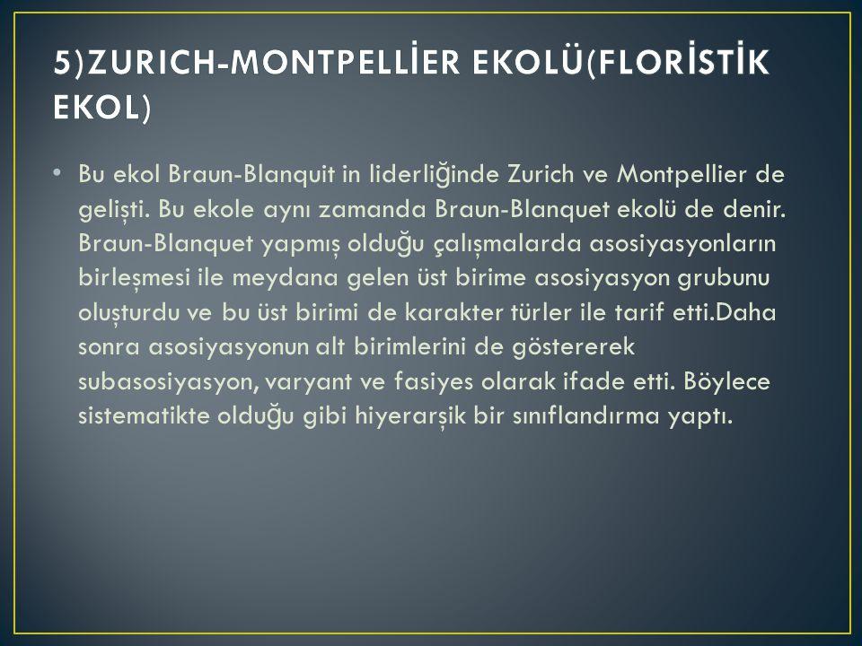 Bu ekol Braun-Blanquit in liderli ğ inde Zurich ve Montpellier de gelişti. Bu ekole aynı zamanda Braun-Blanquet ekolü de denir. Braun-Blanquet yapmış
