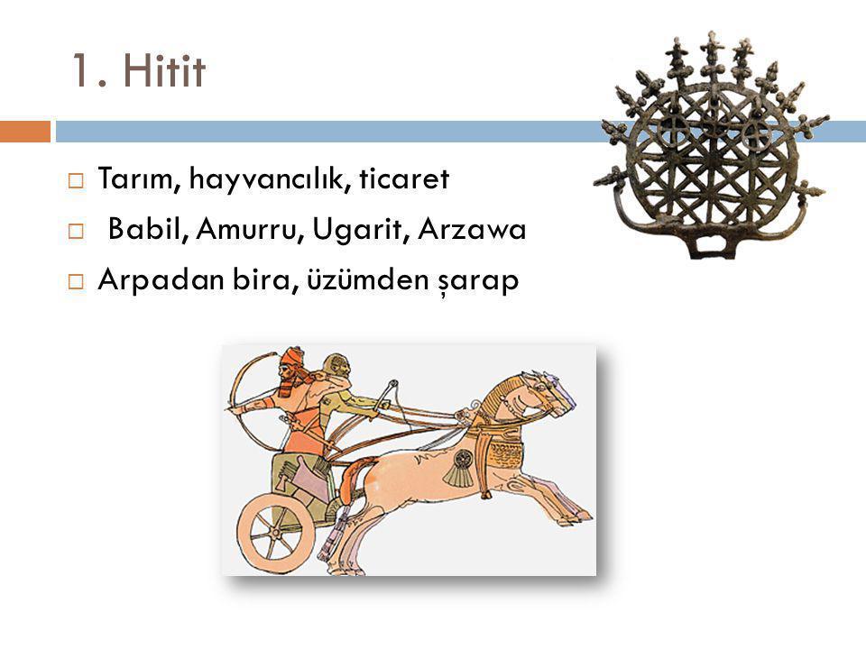 1. Hitit  Tarım, hayvancılık, ticaret  Babil, Amurru, Ugarit, Arzawa  Arpadan bira, üzümden şarap