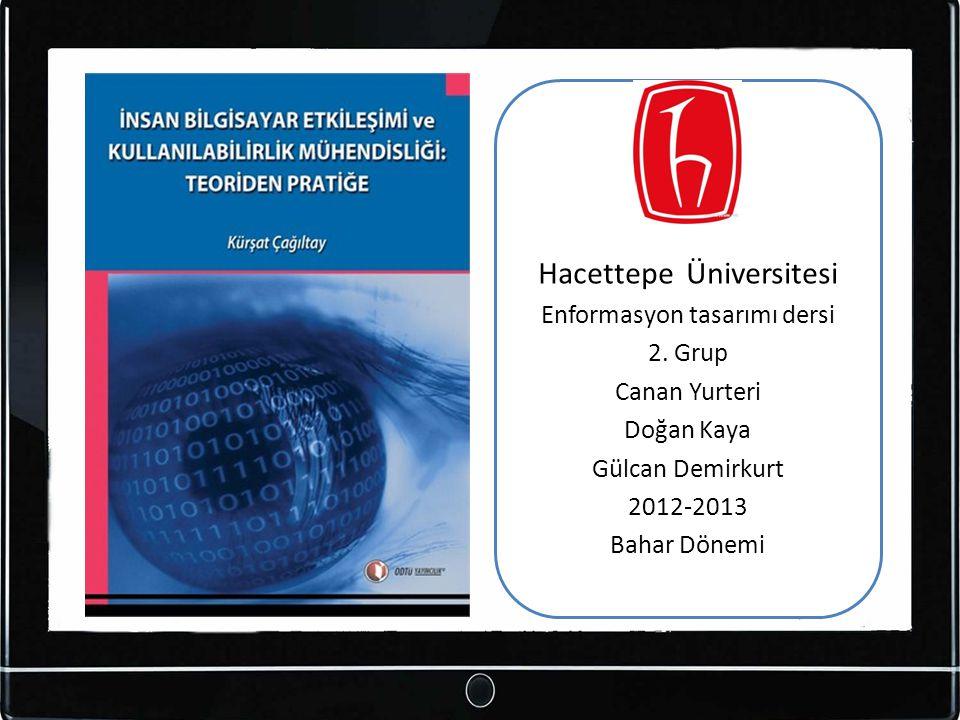 Hacettepe Üniversitesi Enformasyon tasarımı dersi 2. Grup Canan Yurteri Doğan Kaya Gülcan Demirkurt 2012-2013 Bahar Dönemi