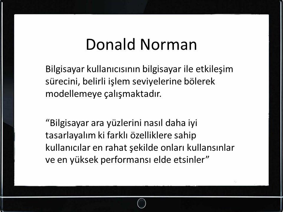"""Donald Norman Bilgisayar kullanıcısının bilgisayar ile etkileşim sürecini, belirli işlem seviyelerine bölerek modellemeye çalışmaktadır. """"Bilgisayar a"""