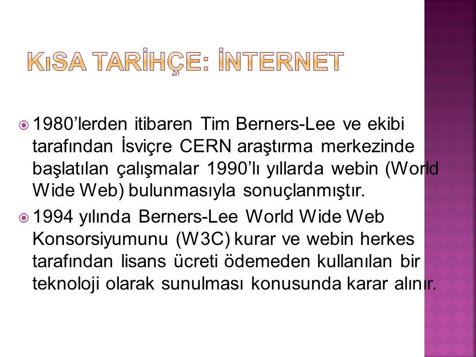  1980'lerden itibaren Tim Berners-Lee ve ekibi tarafından İsviçre CERN araştırma merkezinde başlatılan çalışmalar 1990'lı yıllarda webin (World Wide