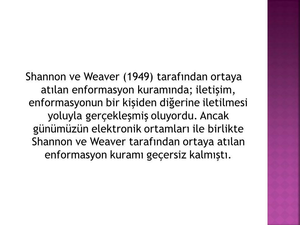Shannon ve Weaver (1949) tarafından ortaya atılan enformasyon kuramında; iletişim, enformasyonun bir kişiden diğerine iletilmesi yoluyla gerçekleşmiş