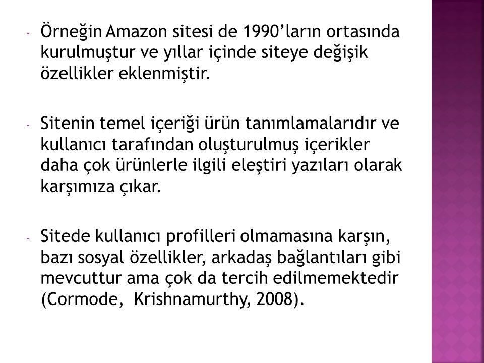 - Örneğin Amazon sitesi de 1990'ların ortasında kurulmuştur ve yıllar içinde siteye değişik özellikler eklenmiştir. - Sitenin temel içeriği ürün tanım