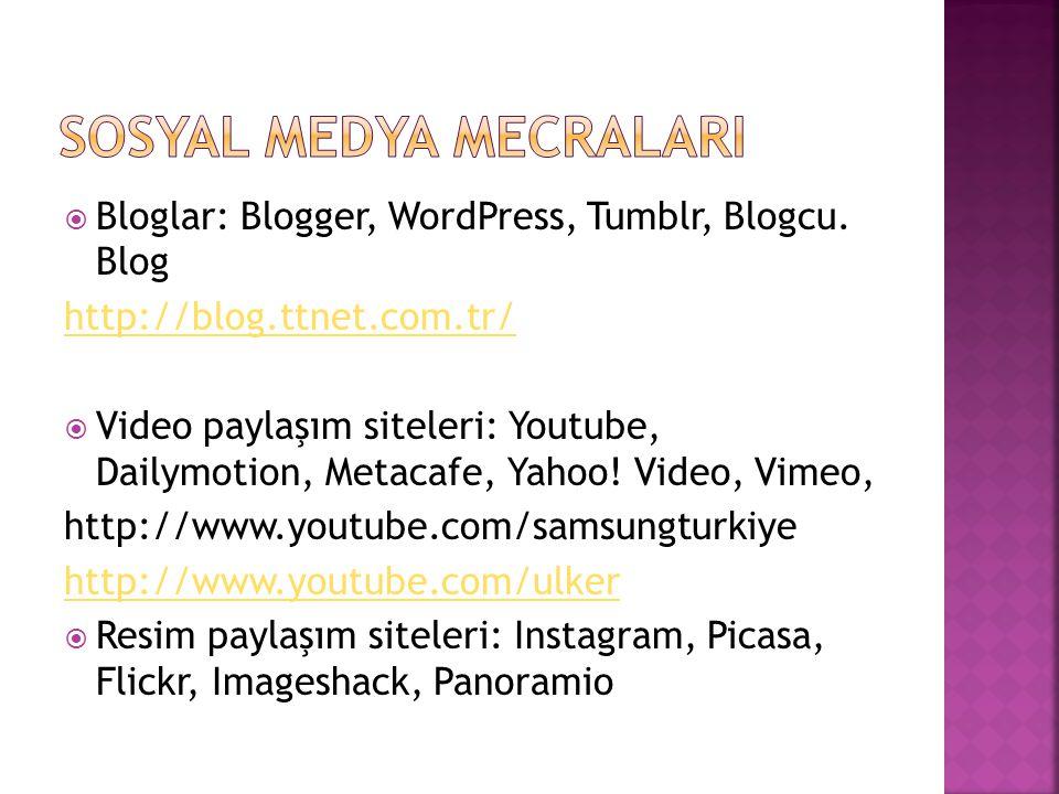  Bloglar: Blogger, WordPress, Tumblr, Blogcu. Blog http://blog.ttnet.com.tr/  Video paylaşım siteleri: Youtube, Dailymotion, Metacafe, Yahoo! Video,
