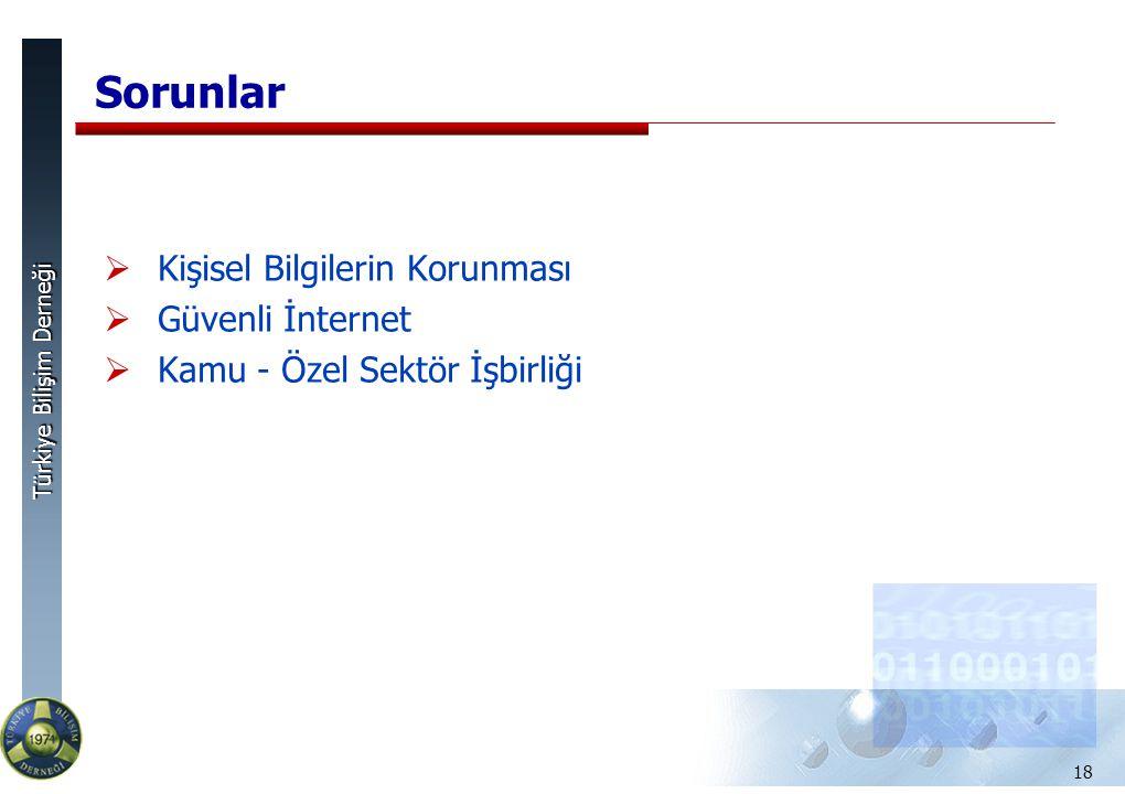Türkiye Bilişim Derneği Sorunlar  Kişisel Bilgilerin Korunması  Güvenli İnternet  Kamu - Özel Sektör İşbirliği 18