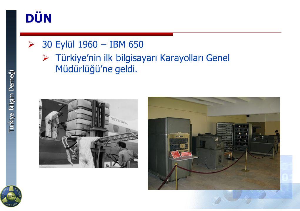 Türkiye Bilişim Derneği DÜN  30 Eylül 1960 – IBM 650  Türkiye'nin ilk bilgisayarı Karayolları Genel Müdürlüğü'ne geldi.