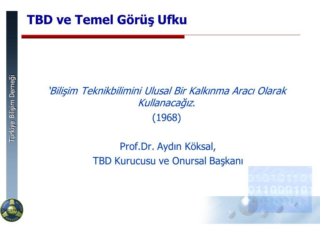 Türkiye Bilişim Derneği TBD ve Temel Görüş Ufku 'Bilişim Teknikbilimini Ulusal Bir Kalkınma Aracı Olarak Kullanacağız.