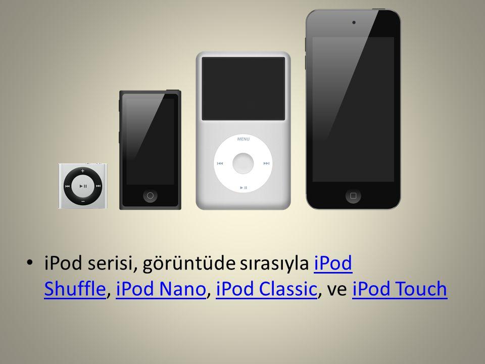 iPod serisi, görüntüde sırasıyla iPod Shuffle, iPod Nano, iPod Classic, ve iPod TouchiPod ShuffleiPod NanoiPod ClassiciPod Touch