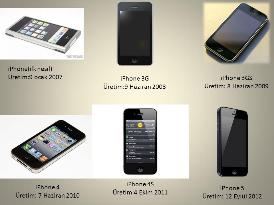 iPhone(ilk nesil) Üretim:9 ocak 2007 iPhone 3G Üretim:9 Haziran 2008 iPhone 3GS Üretim: 8 Haziran 2009 iPhone 4 Üretim: 7 Haziran 2010 iPhone 4S Üreti