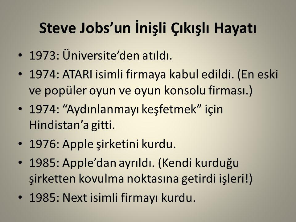 Steve Jobs'un İnişli Çıkışlı Hayatı 1973: Üniversite'den atıldı. 1974: ATARI isimli firmaya kabul edildi. (En eski ve popüler oyun ve oyun konsolu fir