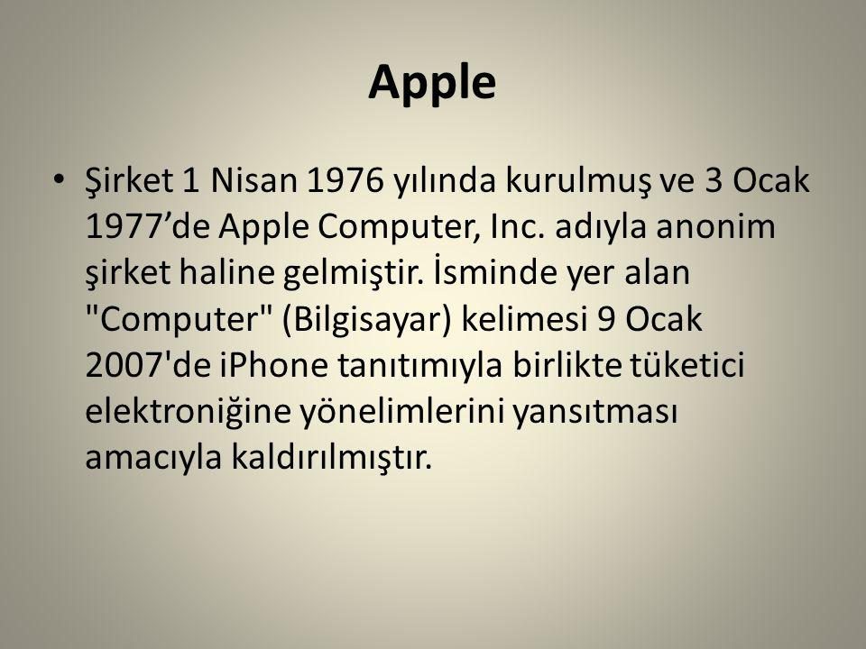 Apple Şirket 1 Nisan 1976 yılında kurulmuş ve 3 Ocak 1977'de Apple Computer, Inc. adıyla anonim şirket haline gelmiştir. İsminde yer alan