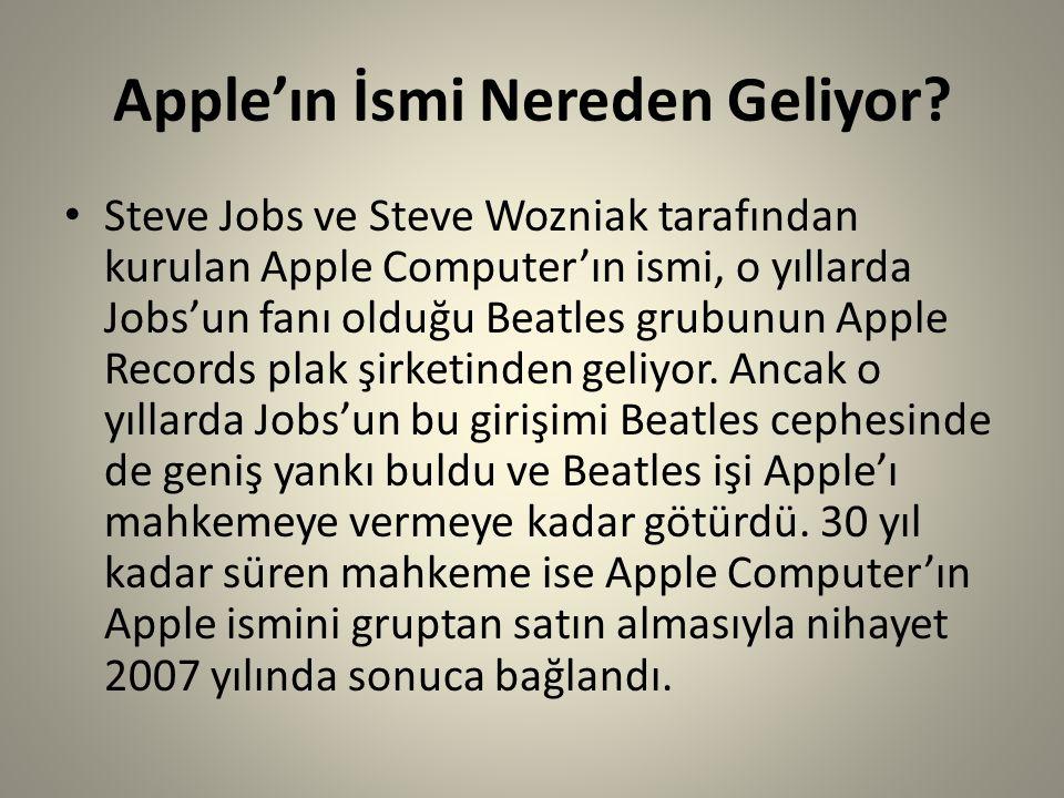 Apple'ın İsmi Nereden Geliyor? Steve Jobs ve Steve Wozniak tarafından kurulan Apple Computer'ın ismi, o yıllarda Jobs'un fanı olduğu Beatles grubunun