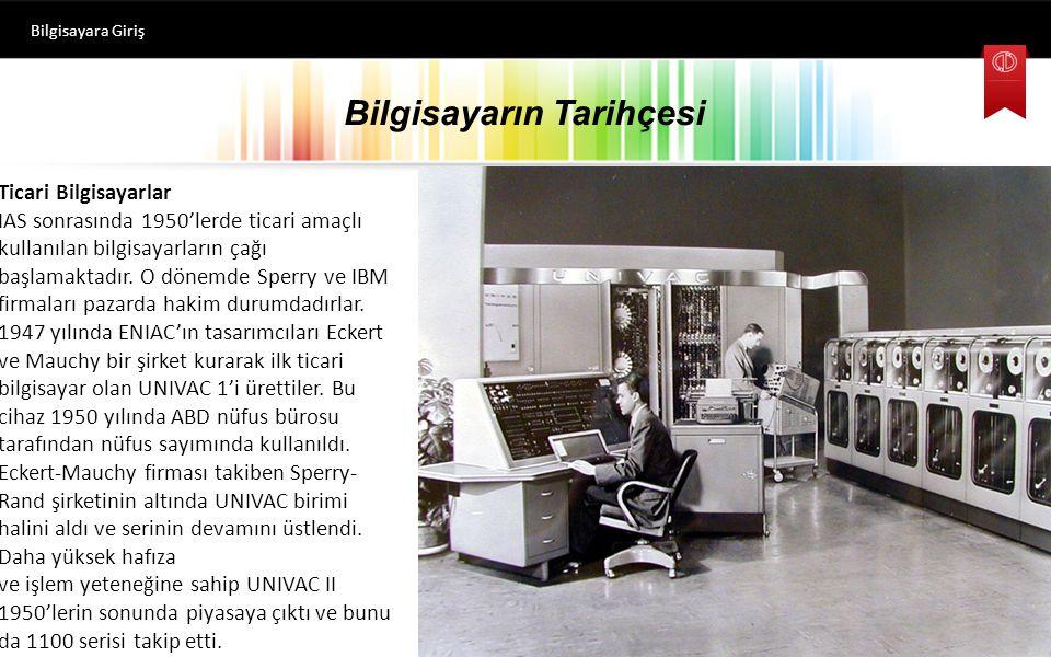 Bilgisayarın Tarihçesi Bilgisayara Giriş Ticari Bilgisayarlar IAS sonrasında 1950'lerde ticari amaçlı kullanılan bilgisayarların çağı başlamaktadır.
