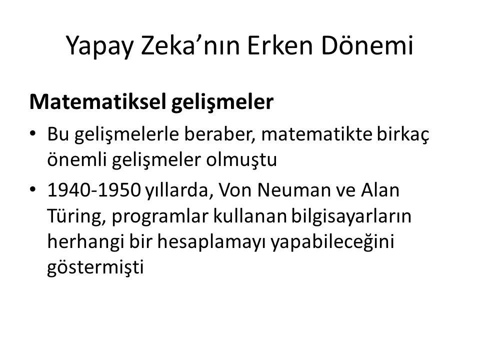 Yapay Zeka'nın Erken Dönemi Matematiksel gelişmeler Bu gelişmelerle beraber, matematikte birkaç önemli gelişmeler olmuştu 1940-1950 yıllarda, Von Neum