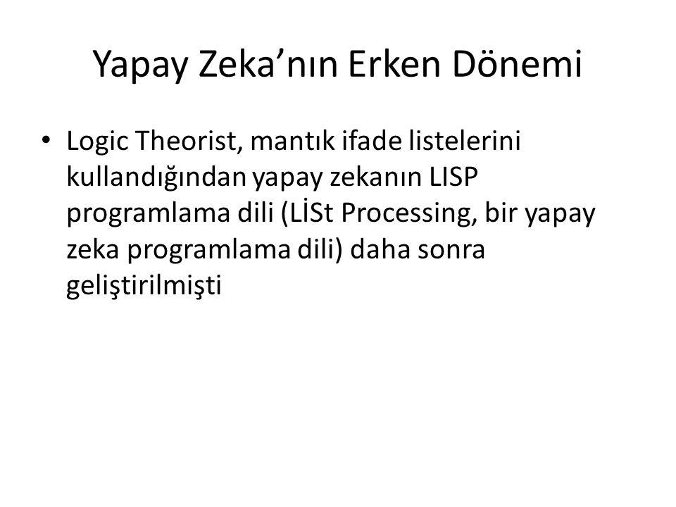 Yapay Zeka'nın Erken Dönemi Logic Theorist, mantık ifade listelerini kullandığından yapay zekanın LISP programlama dili (LİSt Processing, bir yapay ze