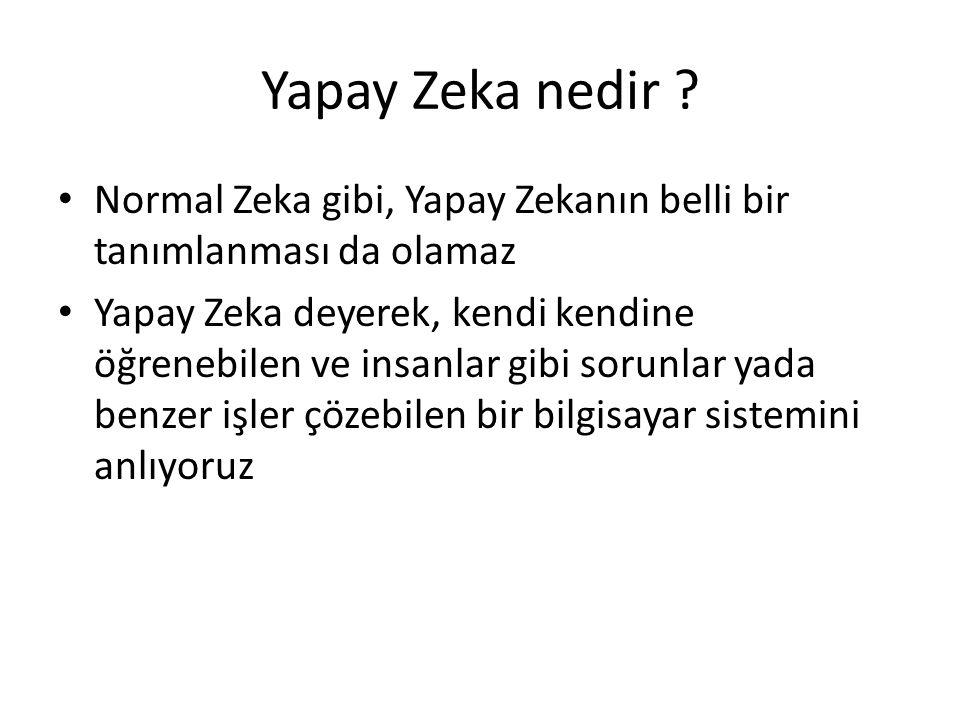 Yapay Zeka nedir ? Normal Zeka gibi, Yapay Zekanın belli bir tanımlanması da olamaz Yapay Zeka deyerek, kendi kendine öğrenebilen ve insanlar gibi sor