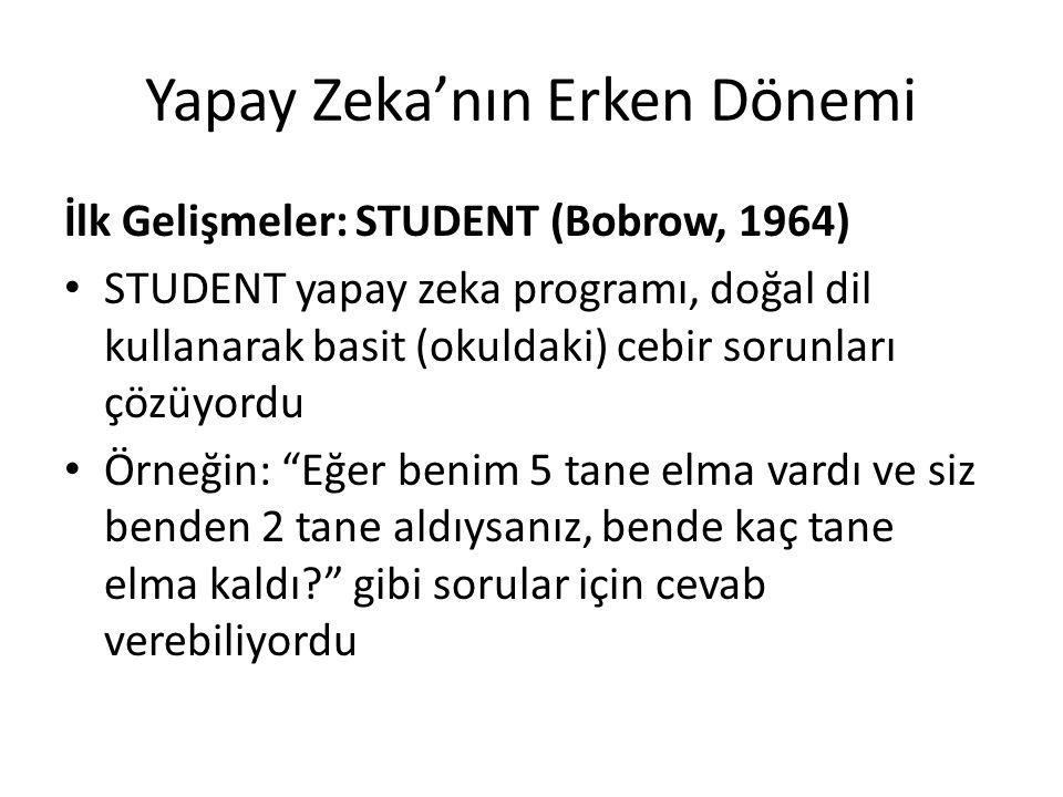 Yapay Zeka'nın Erken Dönemi İlk Gelişmeler: STUDENT (Bobrow, 1964) STUDENT yapay zeka programı, doğal dil kullanarak basit (okuldaki) cebir sorunları
