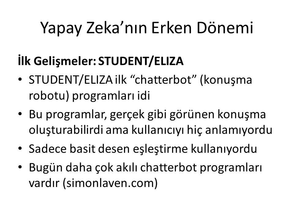"""Yapay Zeka'nın Erken Dönemi İlk Gelişmeler: STUDENT/ELIZA STUDENT/ELIZA ilk """"chatterbot"""" (konuşma robotu) programları idi Bu programlar, gerçek gibi g"""