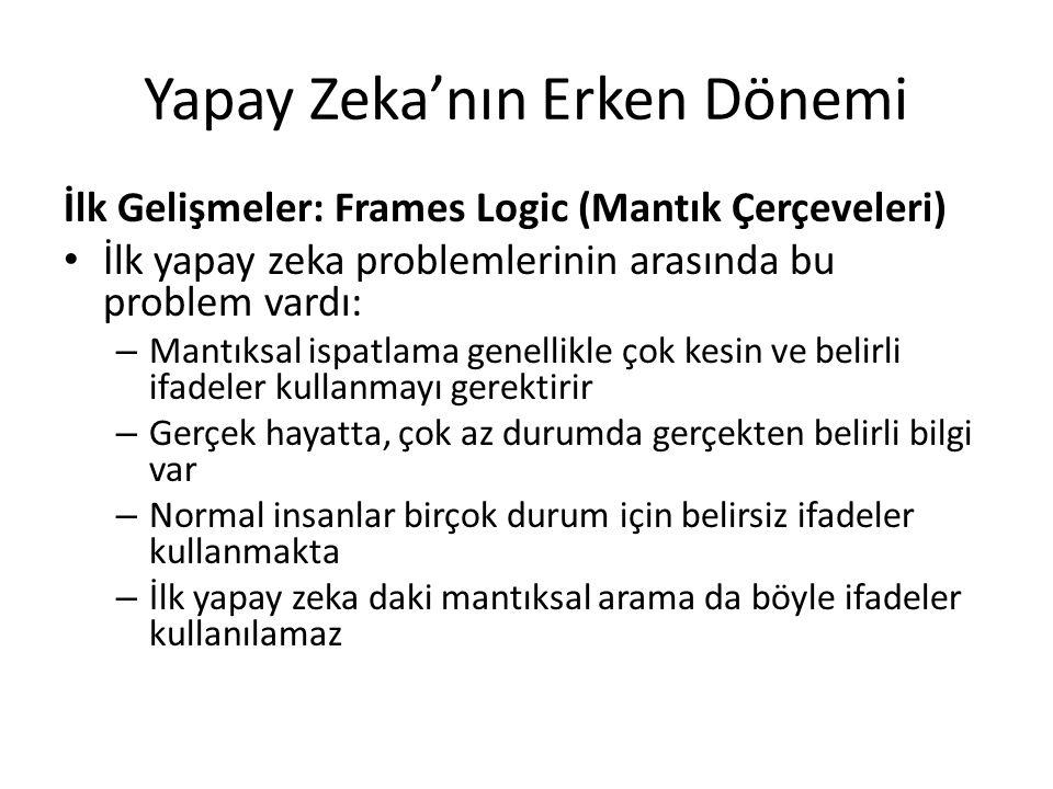 Yapay Zeka'nın Erken Dönemi İlk Gelişmeler: Frames Logic (Mantık Çerçeveleri) İlk yapay zeka problemlerinin arasında bu problem vardı: – Mantıksal isp