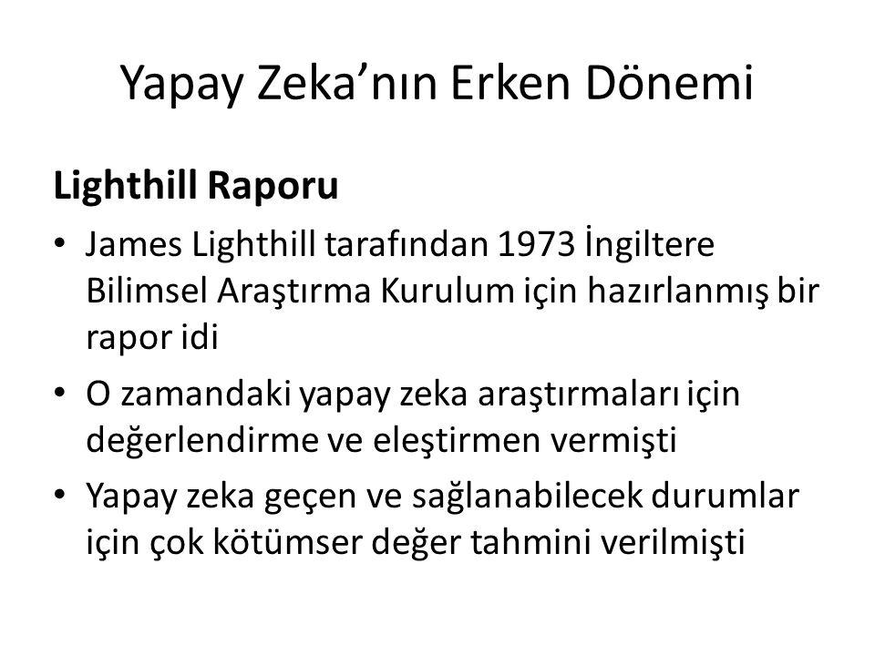 Yapay Zeka'nın Erken Dönemi Lighthill Raporu James Lighthill tarafından 1973 İngiltere Bilimsel Araştırma Kurulum için hazırlanmış bir rapor idi O zam