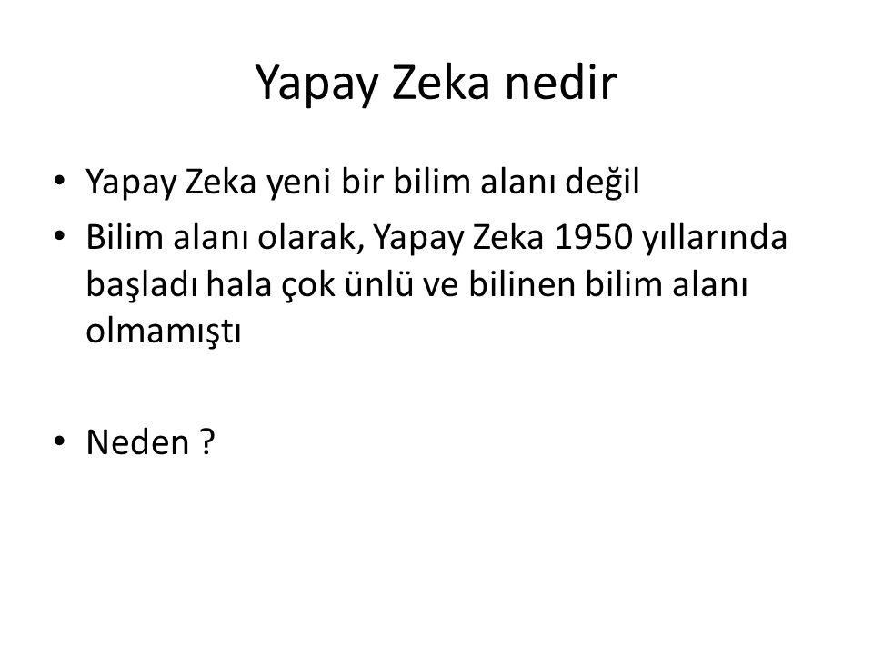 Yapay Zeka nedir Yapay Zeka yeni bir bilim alanı değil Bilim alanı olarak, Yapay Zeka 1950 yıllarında başladı hala çok ünlü ve bilinen bilim alanı olm