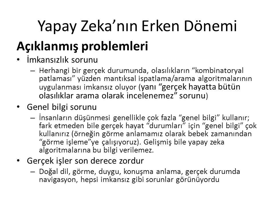 """Yapay Zeka'nın Erken Dönemi Açıklanmış problemleri İmkansızlık sorunu – Herhangi bir gerçek durumunda, olasılıkların """"kombinatoryal patlaması"""" yüzden"""