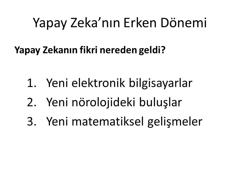 Yapay Zeka'nın Erken Dönemi Tesadüfen, bu şekil genel nöron ağların çalışma yapısına benzermiş  (z) x 1, x 2,..., x n  (z) g(z)