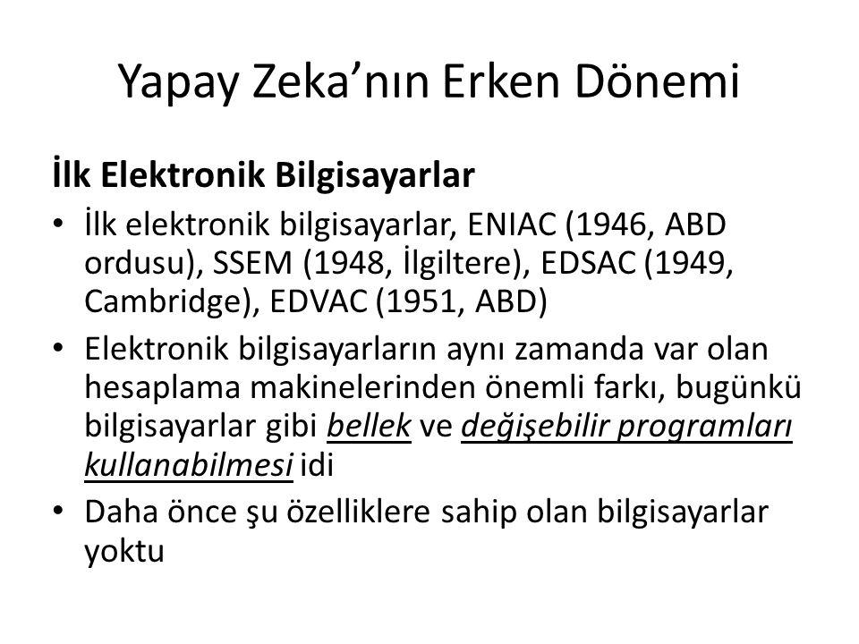 Yapay Zeka'nın Erken Dönemi İlk Elektronik Bilgisayarlar İlk elektronik bilgisayarlar aynı zamanda var olan diğer bilgisayarlardan daha çok güçlü idi, daha ileri tasarım ve hesaplama gücü sayesinde radikal olarak yeni hesaplamalara yol açmıştı Daha önceden yapılamayan problemler aniden çözülebilir oldu Bu gelişmeler birçok insana güçlenme hissi vermişti