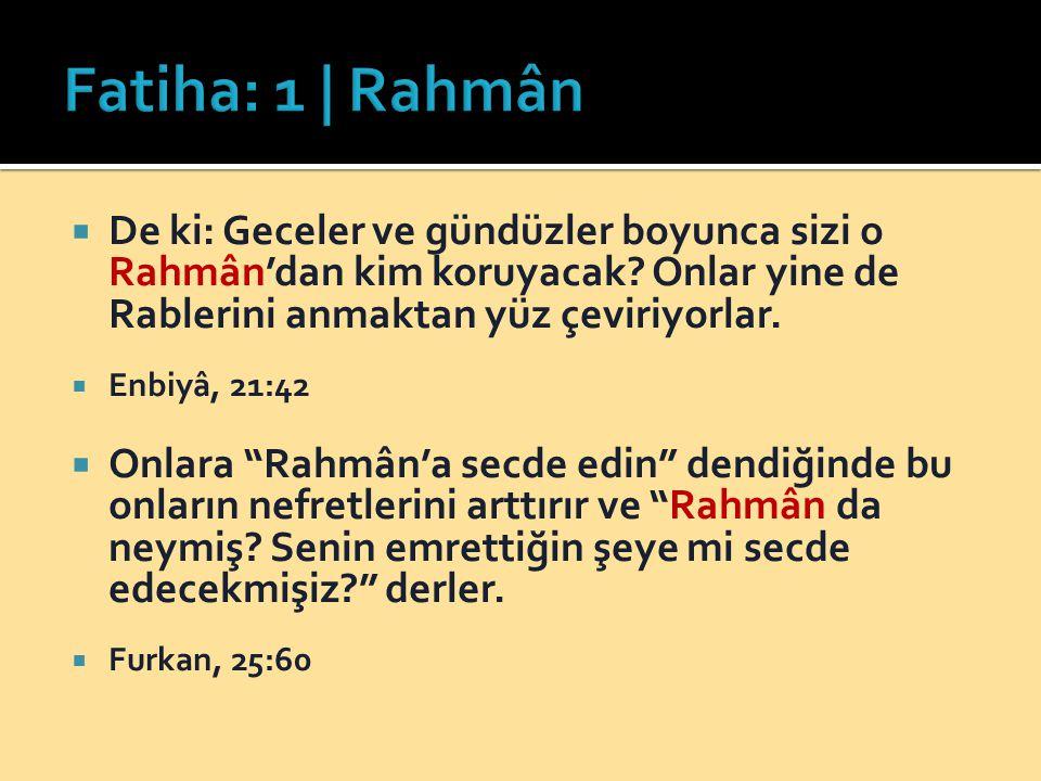 """ De ki: Geceler ve gündüzler boyunca sizi o Rahmân'dan kim koruyacak? Onlar yine de Rablerini anmaktan yüz çeviriyorlar.  Enbiyâ, 21:42  Onlara """"Ra"""