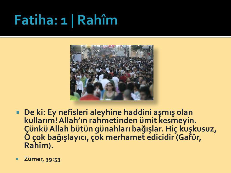  De ki: Ey nefisleri aleyhine haddini aşmış olan kullarım! Allah'ın rahmetinden ümit kesmeyin. Çünkü Allah bütün günahları bağışlar. Hiç kuşkusuz, O
