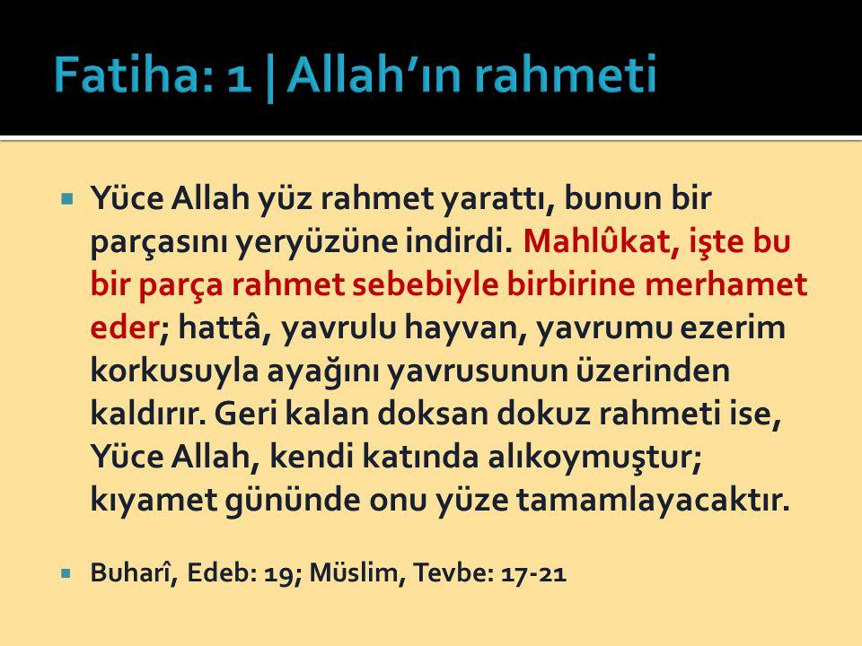  Yüce Allah yüz rahmet yarattı, bunun bir parçasını yeryüzüne indirdi. Mahlûkat, işte bu bir parça rahmet sebebiyle birbirine merhamet eder; hattâ, y
