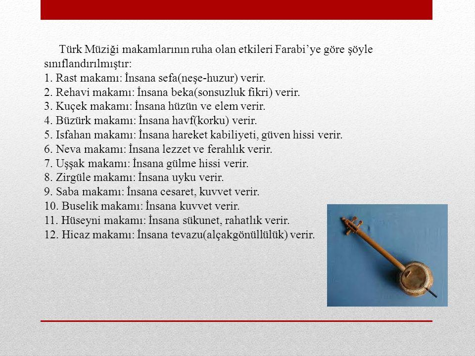 Türk Müziği makamlarının ruha olan etkileri Farabi'ye göre şöyle sınıflandırılmıştır: 1. Rast makamı: İnsana sefa(neşe-huzur) verir. 2. Rehavi makamı: