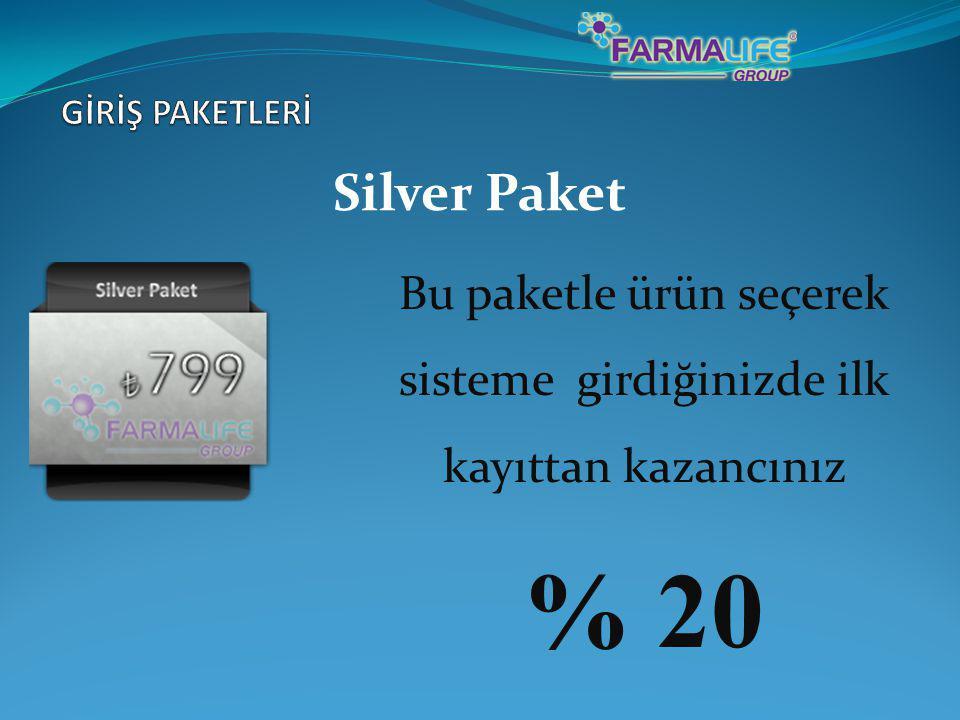 Silver Paket Bu paketle ürün seçerek sisteme girdiğinizde ilk kayıttan kazancınız % 20