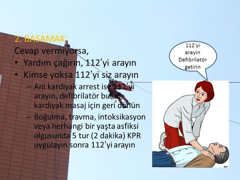 2. BASAMAK: Cevap vermiyorsa, Yardım çağırın, 112'yi arayın Kimse yoksa 112'yi siz arayın – Ani kardiyak arrest ise 112'yi arayın, defibrilatör bulun,