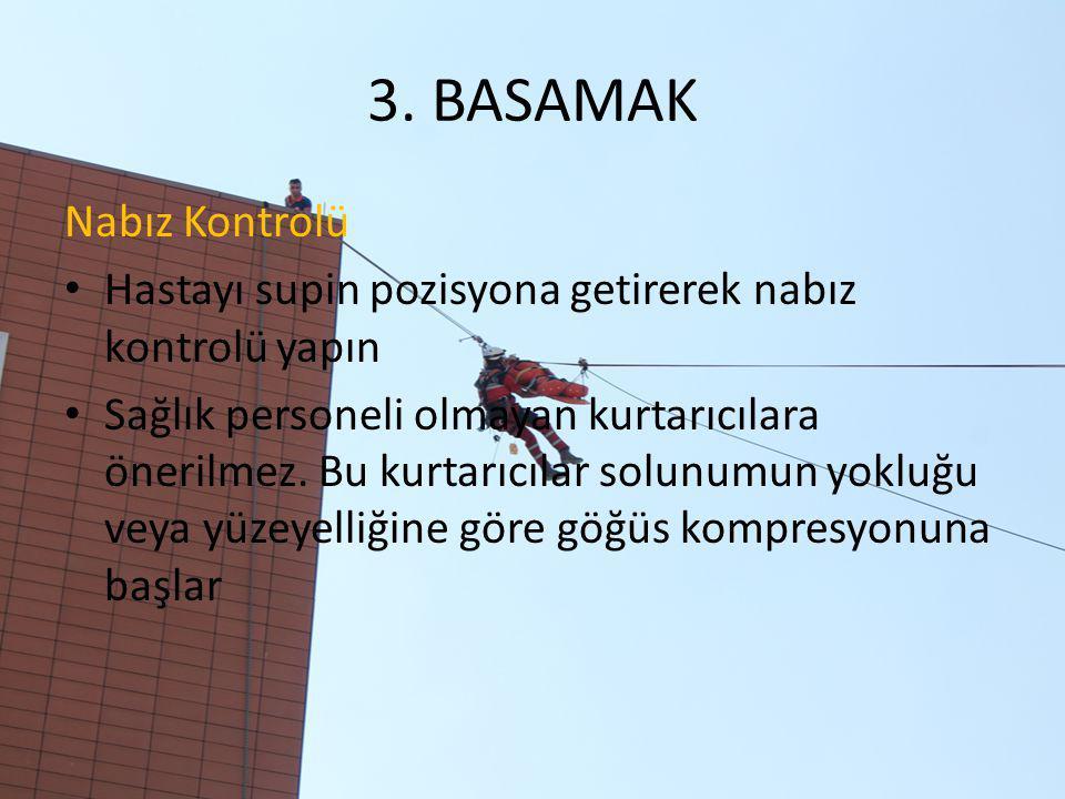 3. BASAMAK Nabız Kontrolü Hastayı supin pozisyona getirerek nabız kontrolü yapın Sağlık personeli olmayan kurtarıcılara önerilmez. Bu kurtarıcılar sol