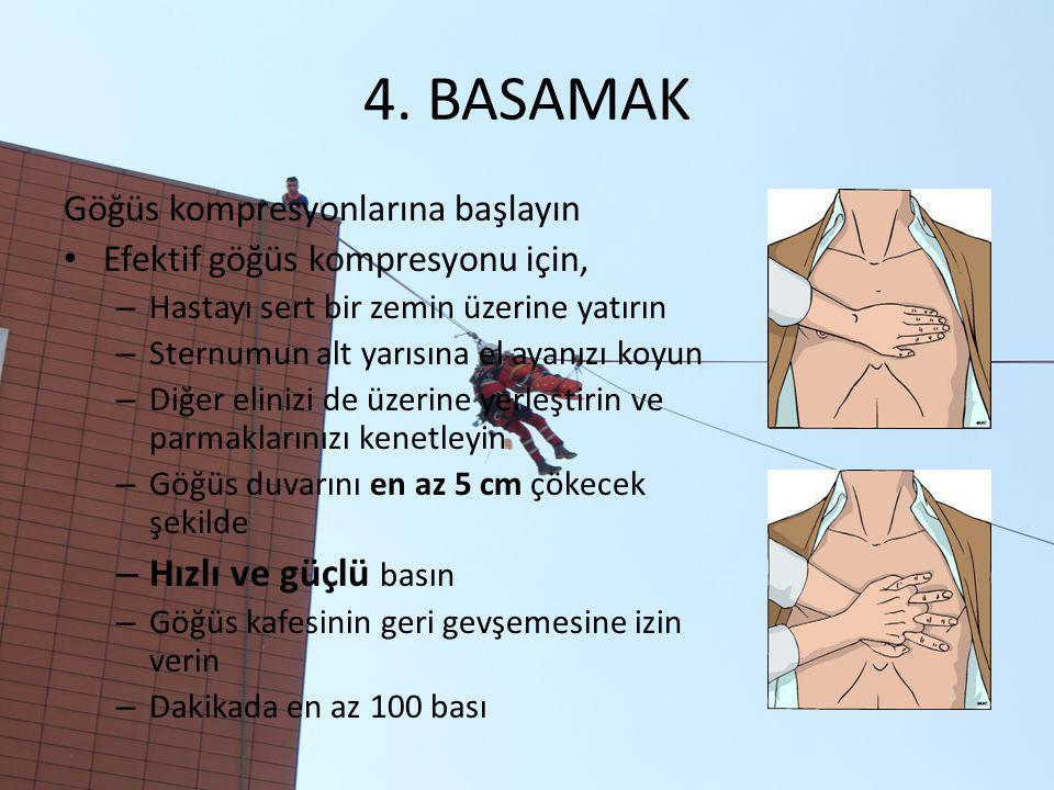 4. BASAMAK Göğüs kompresyonlarına başlayın Efektif göğüs kompresyonu için, – Hastayı sert bir zemin üzerine yatırın – Sternumun alt yarısına el ayanız
