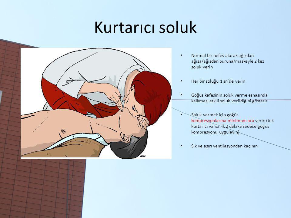 Kurtarıcı soluk Normal bir nefes alarak ağızdan ağıza/ağızdan buruna/maskeyle 2 kez soluk verin Her bir soluğu 1 sn'de verin Göğüs kafesinin soluk verme esnasında kalkması etkili soluk verildiğini gösterir Soluk vermek için göğüs kompresyonlarına minimum ara verin (tek kurtarıcı varsa ilk 2 dakika sadece göğüs kompresyonu uygulayın) Sık ve aşırı ventilasyondan kaçının