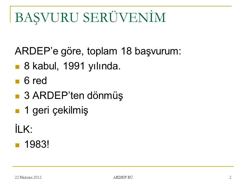 BAŞVURU SERÜVENİM ARDEP'e göre, toplam 18 başvurum: 8 kabul, 1991 yılında. 6 red 3 ARDEP'ten dönmüş 1 geri çekilmiş İLK: 1983! ARDEP BÜ 222 Haziran 20