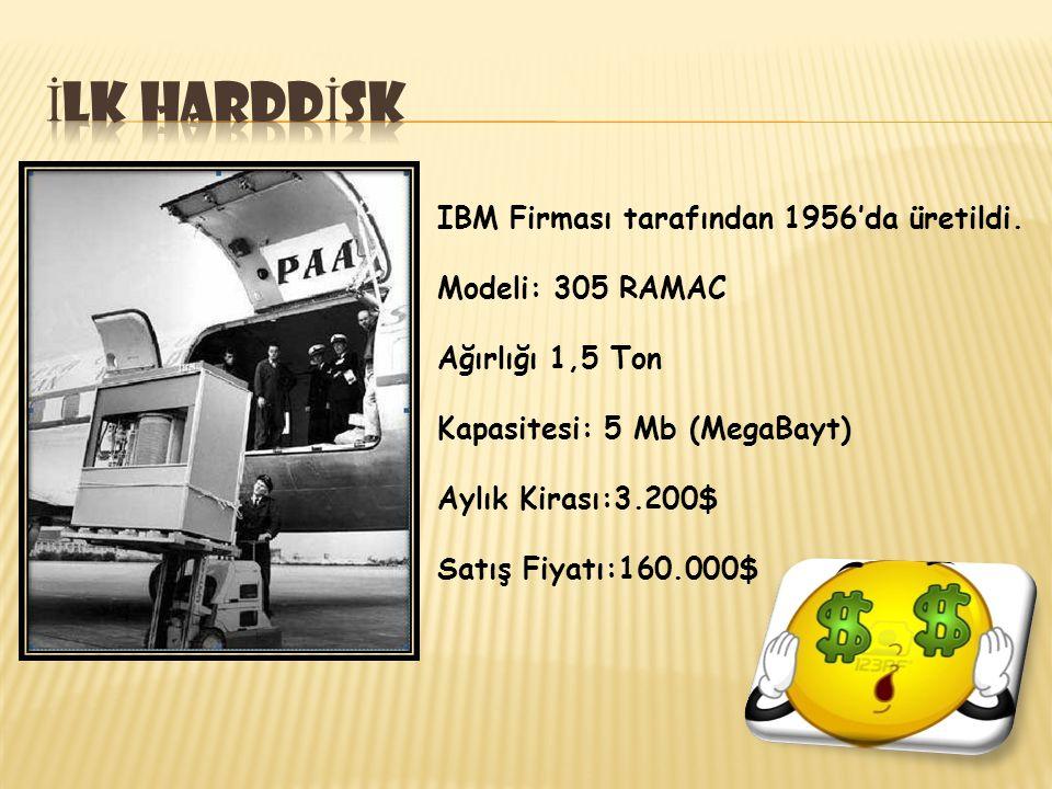 IBM Firması tarafından 1956'da üretildi. Modeli: 305 RAMAC Ağırlığı 1,5 Ton Kapasitesi: 5 Mb (MegaBayt) Aylık Kirası:3.200$ Satış Fiyatı:160.000$