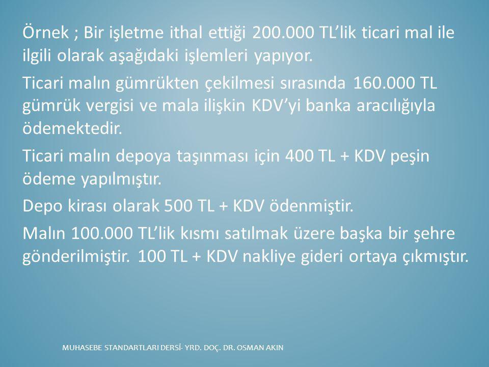 Örnek ; Bir işletme ithal ettiği 200.000 TL'lik ticari mal ile ilgili olarak aşağıdaki işlemleri yapıyor. Ticari malın gümrükten çekilmesi sırasında 1