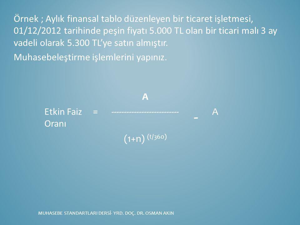 Örnek ; Aylık finansal tablo düzenleyen bir ticaret işletmesi, 01/12/2012 tarihinde peşin fiyatı 5.000 TL olan bir ticari malı 3 ay vadeli olarak 5.300 TL'ye satın almıştır.